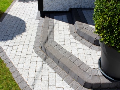 New Granite Cobble Driveway With Step in Taunton
