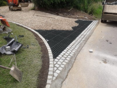 New gravel driveway with stabilisers in Somerset