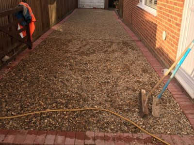 Finished installation with gravel