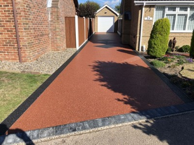 Red Tarmac Driveway With Charcoal Border in Somerset