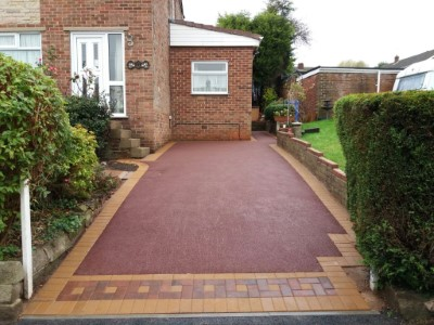 Red Tarmac Driveway With Brick Apron in Somerset